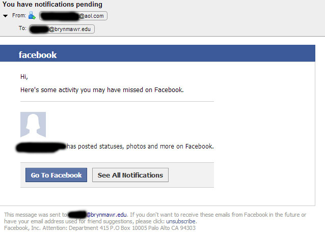 fake facebook notification