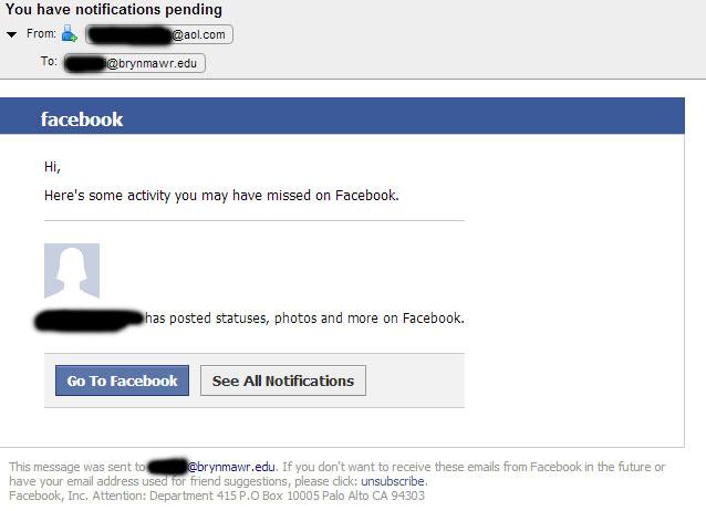 fake facebook notification
