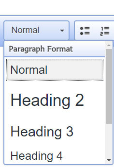 closeup of paragraph formatting options in editor