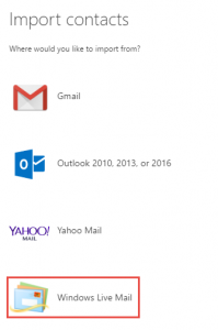 illustration of selecting Windows Live Mail when importing contacts