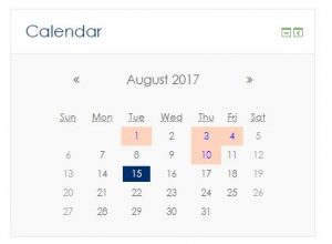 Screen shot of Moodle Calendar block