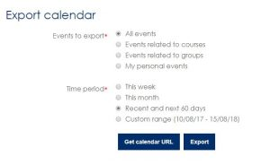 Screen shot of Moodle Export calendar page