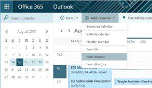 Screen shot Add calendar from Internet menu option