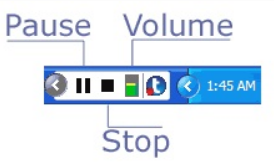 Image of the Tegrity Recording Tool Bar with pause, stop and volume marked.
