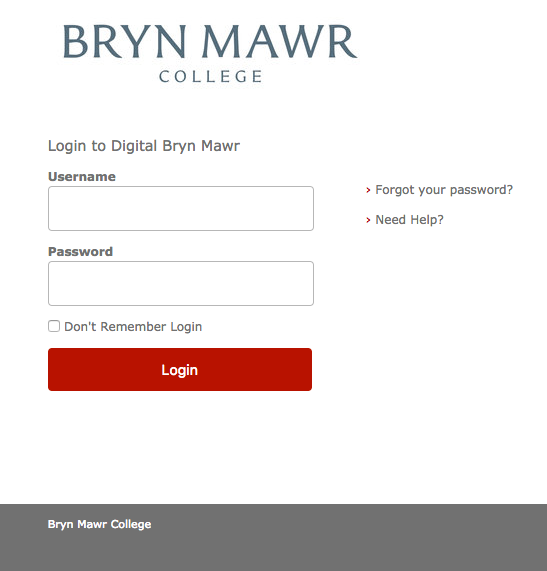 Screenshot of Digital Bryn Mawr login page