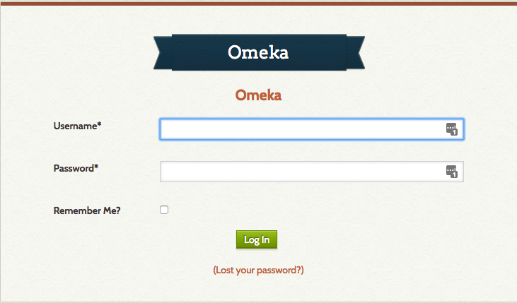 Screenshot of login page of backend adminstrative section for your Omeka