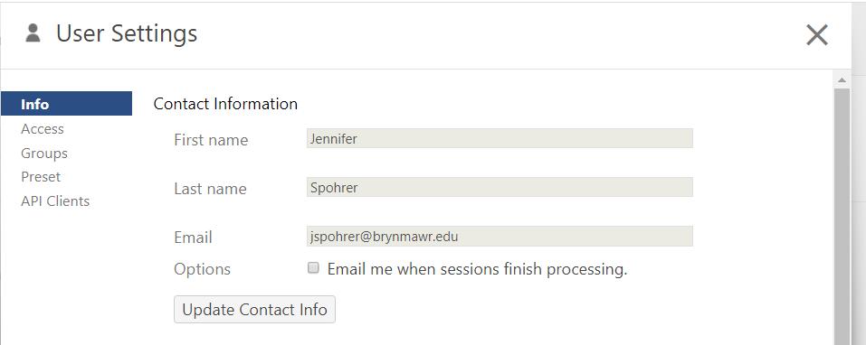 Screen shot of Panopto user settings