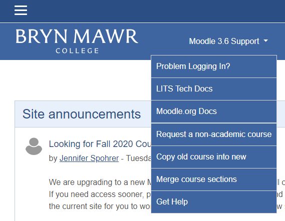 Screen shot of Moodle Support menu