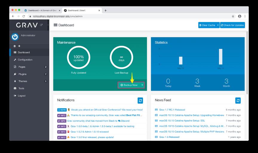 Screenshot of Grav Dashboard highlighting Backup Now button