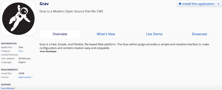 Screenshot of Grav installation page