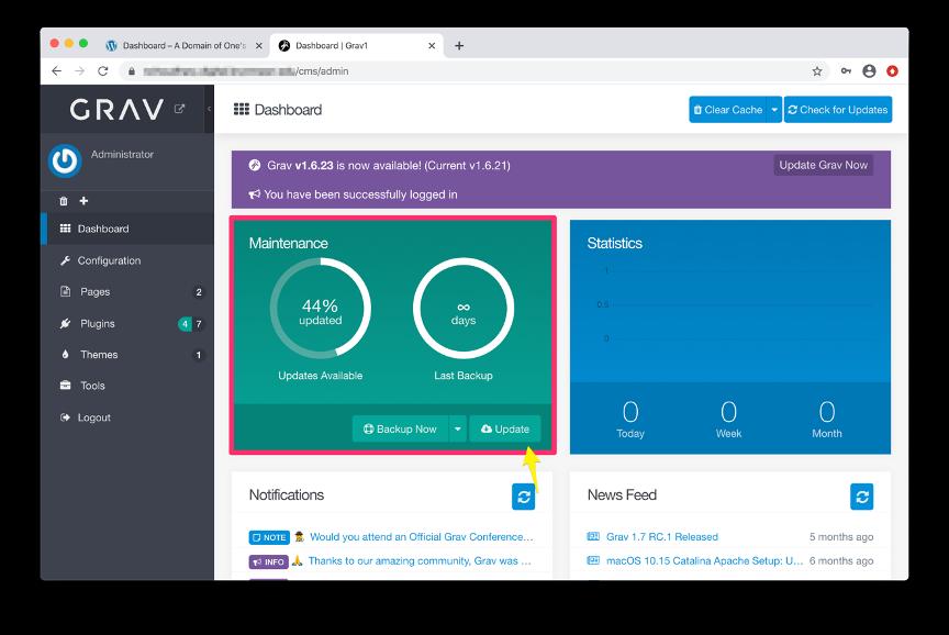 Screenshot of Grav Dashboard highlighting the Update button under the Maintenance section