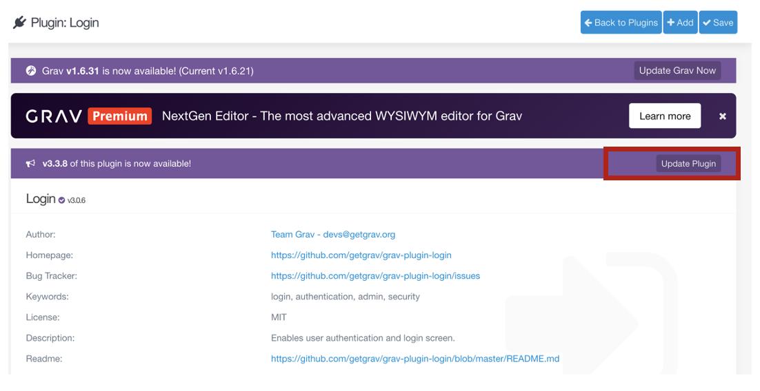 Screenshot highlighting Update Plugin button