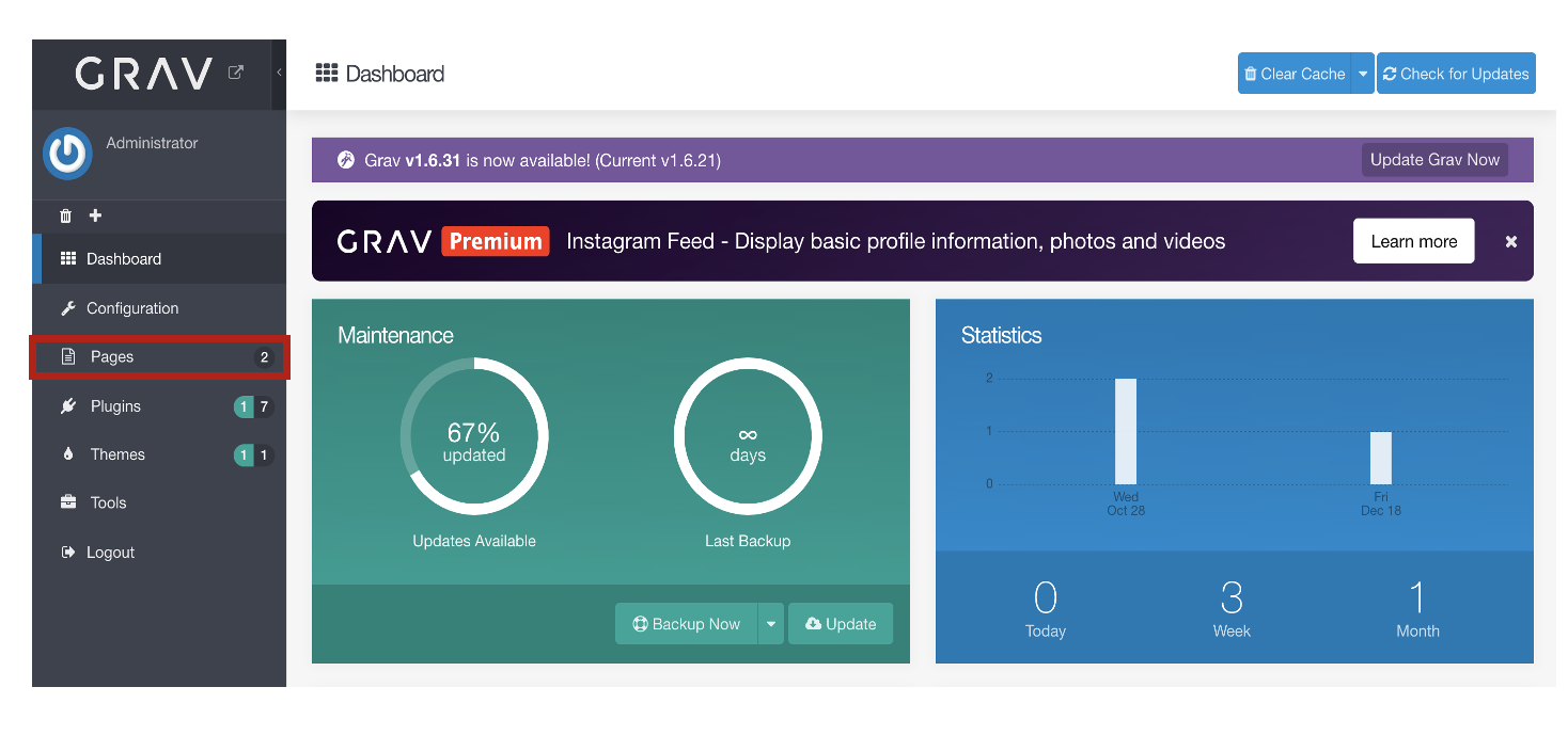 Screenshot of Grav Dashboard