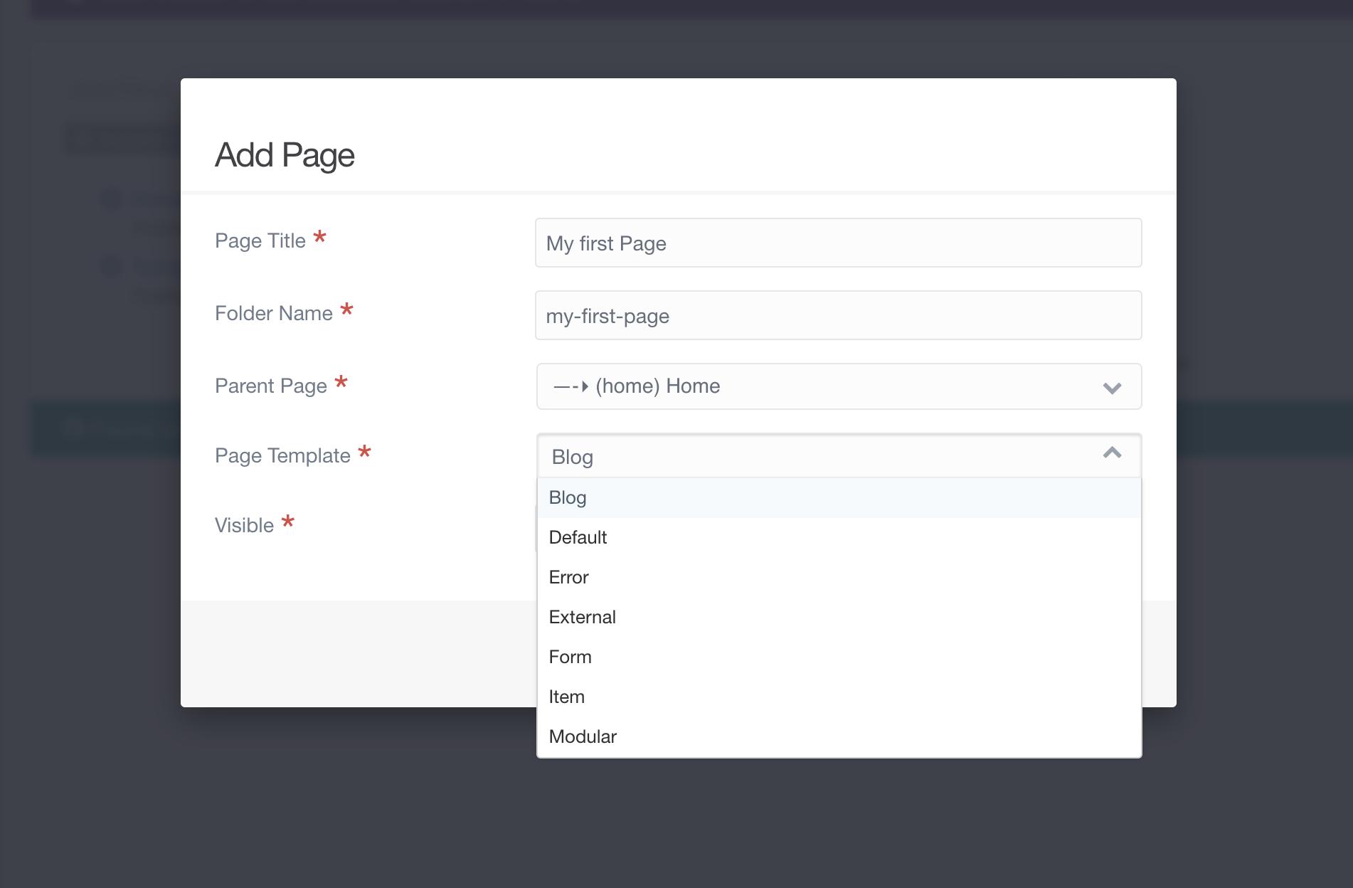 Screenshot of Page Template Drop-down Menu