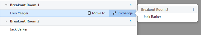 Screen shot showing Move to and Exchange options