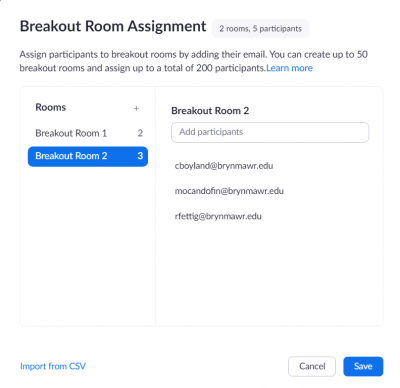 Breakout Room Assignment Window