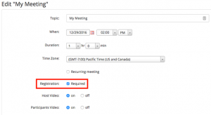 Screen shot Zoom Meeting settings