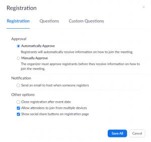 Registration options window