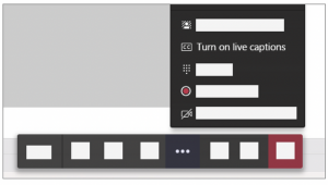 Screenshot of More options menu with Turn on live captions option from a desktop.