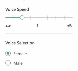 Screenshot of Voice Options menu.