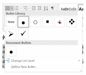 Screenshot of style options for an unordered (bulleted) list.