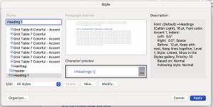 Screenshot of Style dialogue box on Mac