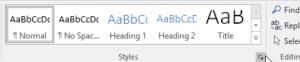 Screenshot of heading styles list on PC