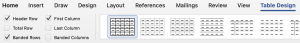 Screenshot of Table Design tab with checked box next to Header Row on a Mac