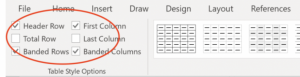 Screenshot of Table Design tab with checked box next to Header Row on a PC