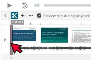 panopto cut icon and red editing bar
