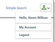 """The account icon. When clicked, it shows a dropdown menu with """"Hello, username,"""" """"My Account,"""" and """"Logout"""""""